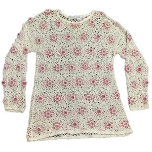 Maggie Lawrence Womens Vintage Crochet Tunic Shirt